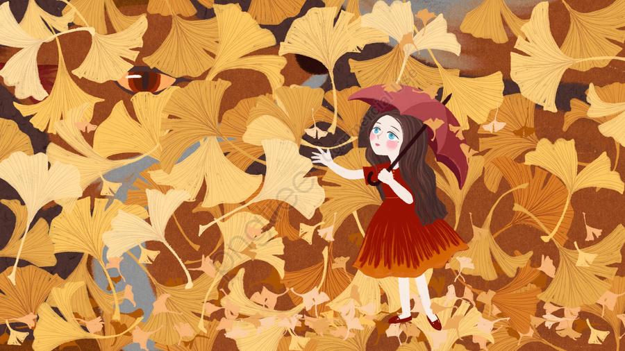 Hello September Ginkgo Leaf Rain Girl And Fox Ginkgo Biloba