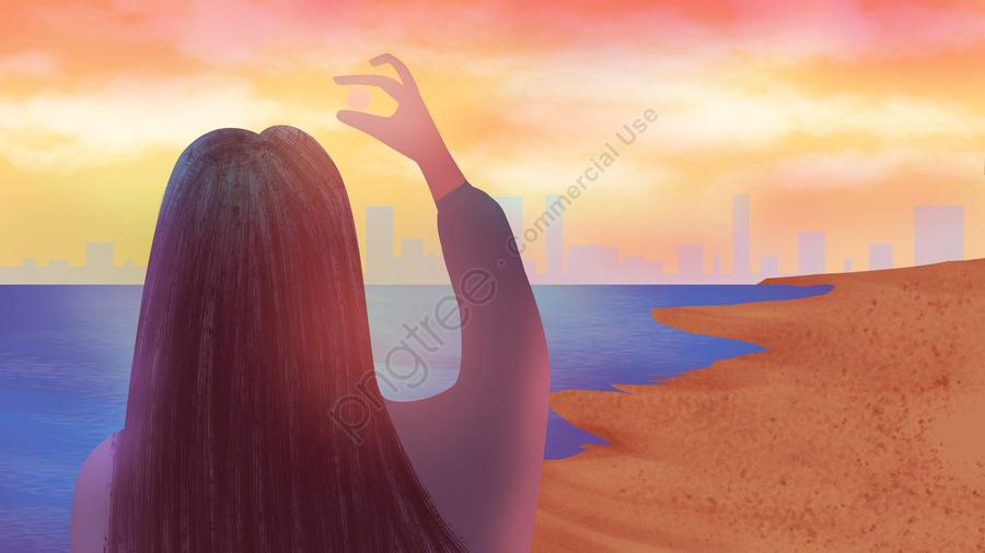 Summer sunset illustration, Girl, Sunset, Dream llustration image