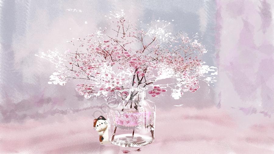 手描きの小さな新鮮な治療イラストの下の桜の木 手描き 装飾画 壁紙 Illustration Image On Pngtree ロイヤリティフリー