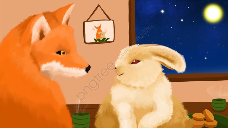 The mid-autumn festival series of mr. fox and miss rabbit's daily routine, Tết Trung Thu Vui Vẻ, Tết Trung Thu, Hoa Trăng đẹp llustration image