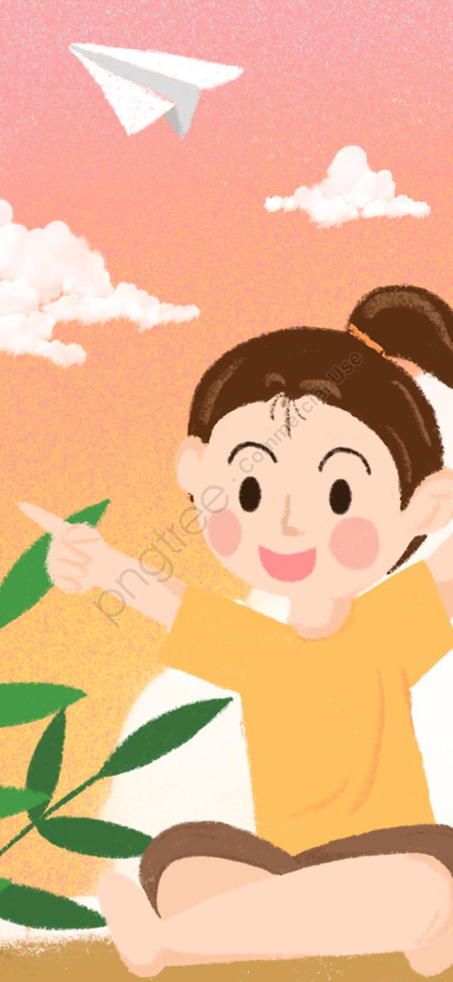 Hello Good Night Dreamy Sunset Paper Plane Girl Illustration, Hello Goodnight, At Night, Illustration llustration image