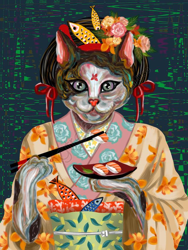 喵记印象油絵日本の猫着物を食べる寿司鮭, 印象, 模造油絵, 日本 llustration image