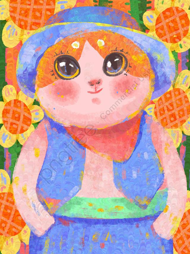 Oil记印象油絵ひまわりデニム猫新鮮なテクスチャイラスト, 印象印象模倣油絵, ひまわり, カウボーイ llustration image