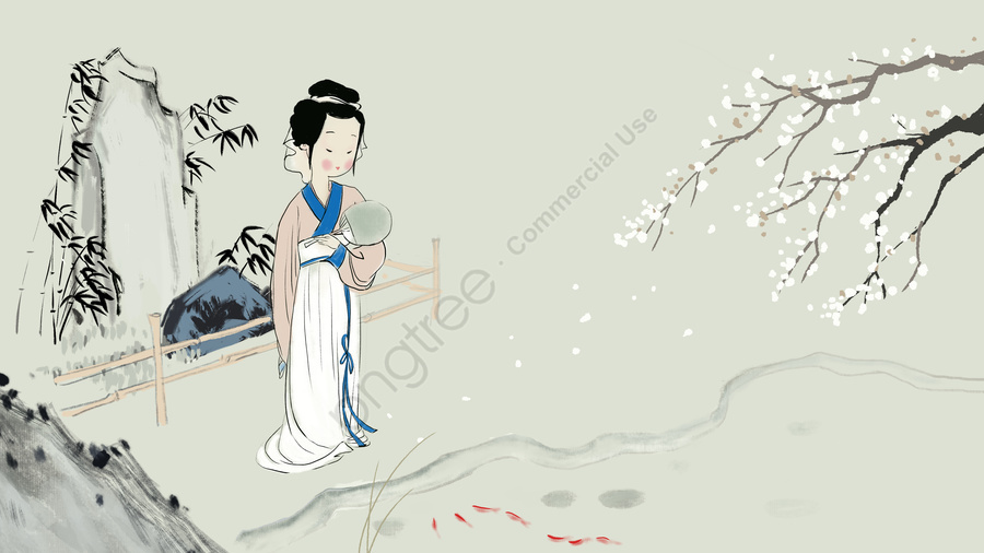 Chinese style ink painting ancient girl watching fish, Ink, Chinese Style, Ancient llustration image