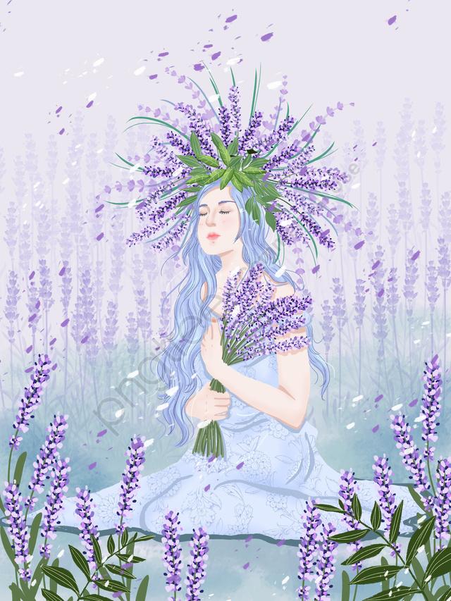 लैवेंडर क्षेत्र में फूलों को पकड़े हुए लड़की का चित्रण, लैवेंडर, बैंगनी, हाथ खींचा हुआ llustration image