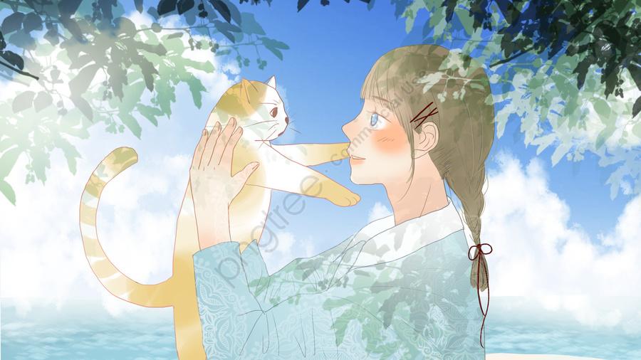Cô Gái Dễ Thương ôm Mèo Dưới Bầu Trời Xanh, Dễ Thương, Tươi, Bầu Trời Xanh llustration image
