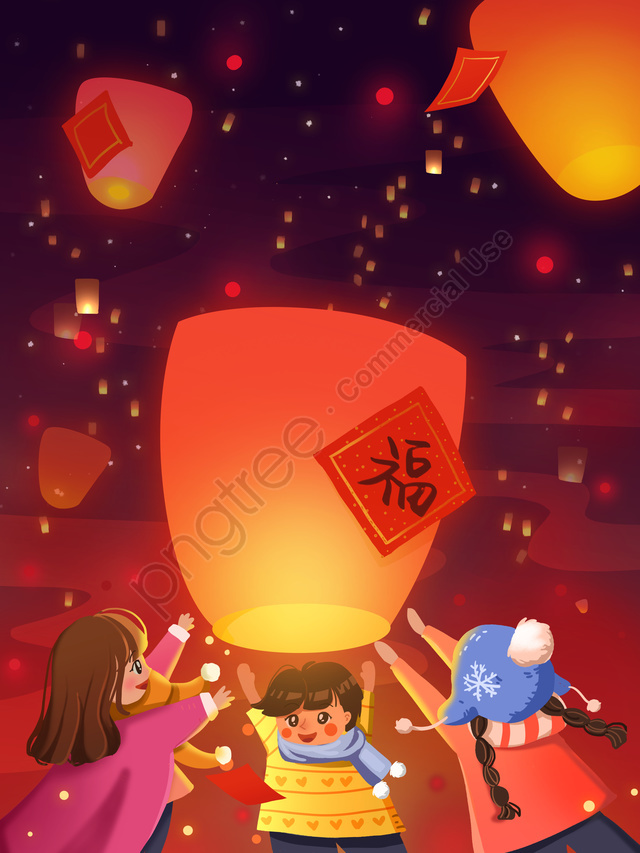 旧正月、新年、春祭り、子供、視線、光、祈り、願い、イラスト, お正月, 春祭り, Kongming Lantern llustration image