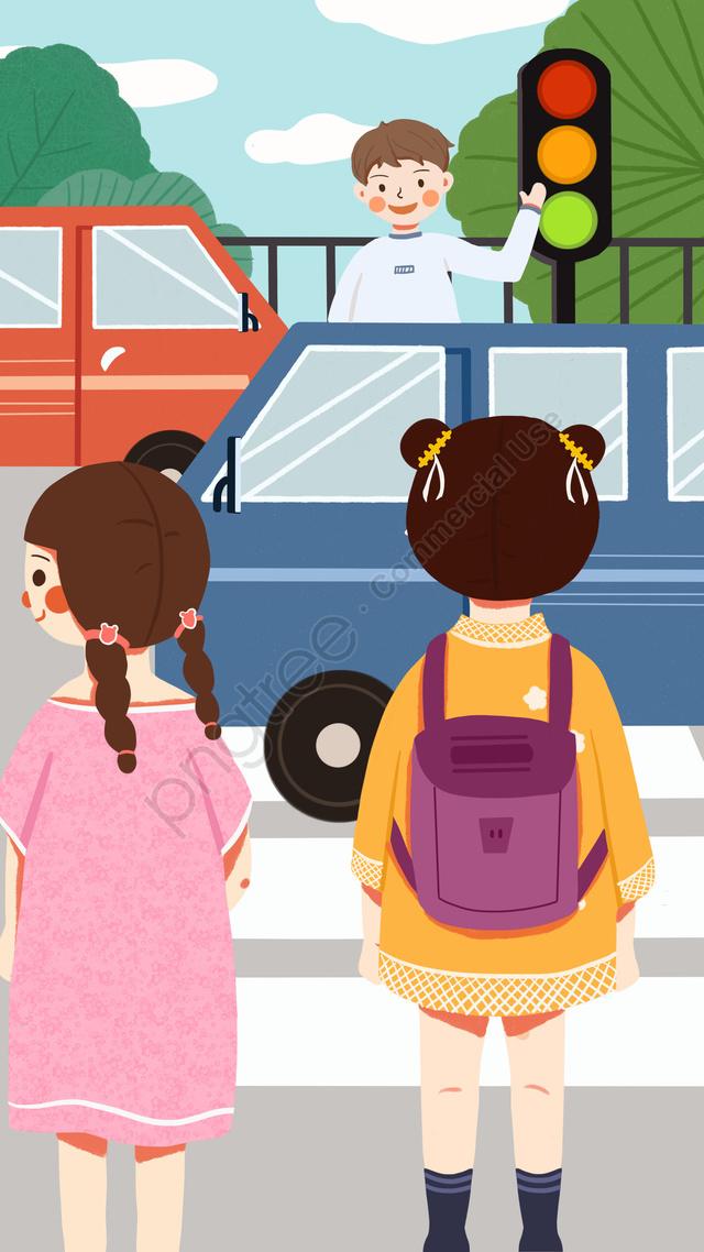 道路を通る道路に従う文明旅行, トラフィックに従う, 安全に注意を払う, 信号機 llustration image