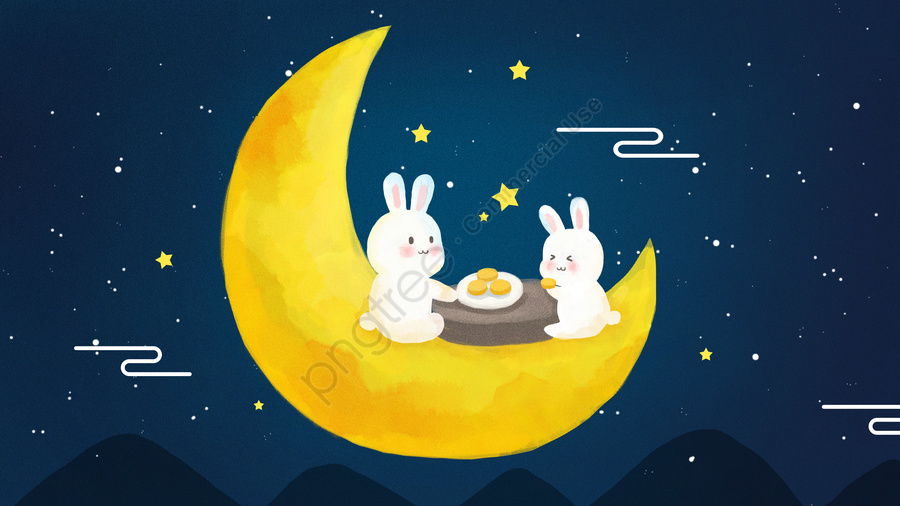 पारंपरिक चीनी मध्य शरद ऋतु समारोह चंद्रमा केक चंद्रमा खरगोश रात हाथ निकालके चित्रण, छूट, प्रोन्नति, चलनेवाली llustration image