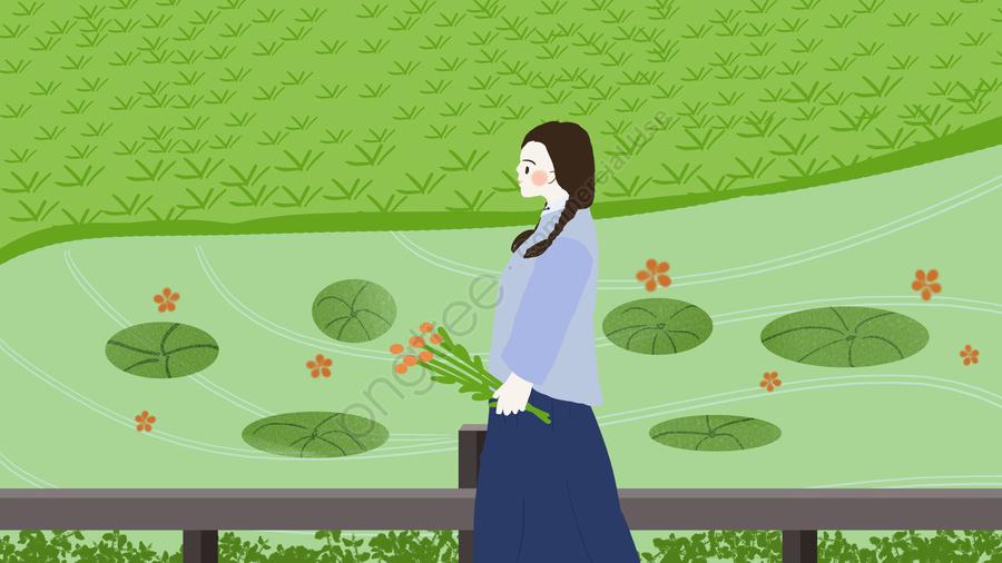 小清新民国の学生の女の子の野外は風景の挿し絵を見ます, 女の子, 学生, 小花 llustration image