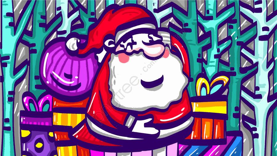 Claus Santa، رسم كاريكتوري، تصوير، إلى داخل، أقات أثناء الشتاء، Forest, بابا نويل, جميل, ابق لطيف llustration image
