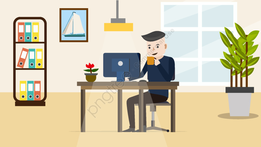 Home Office Character Scene Flat Style Illustration, Scenes, Character, Office llustration image