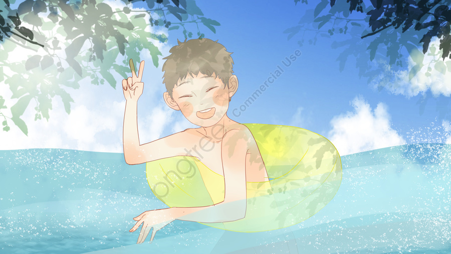Simple Refreshing Summer Scene Little Boy Swimming In The Sea, Simple, Fresh, Summer llustration image