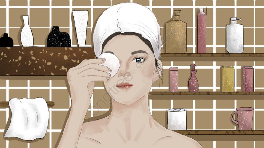 Girl In The Bathroom Skin Care Original Illustration, Skin Care, Beauty, Girl llustration image
