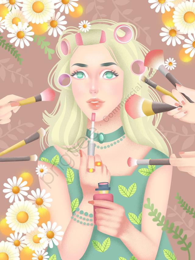 작은 신선한 스타일 소녀 아름다움 스킨 케어 메이크업 일러스트 레이션, 스킨 케어, 아름다움, 메이크업 llustration image