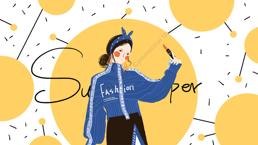 Small Fresh And Simple Fashion Girl Beauty, Small Fresh, Fashion, Simple llustration image