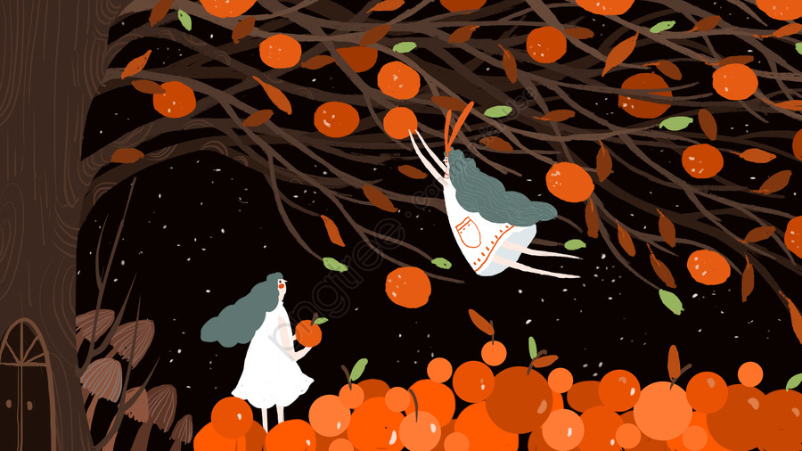Small Fresh Autumn Fall Harvest Fruit, Small Fresh, Night, Good Night llustration image