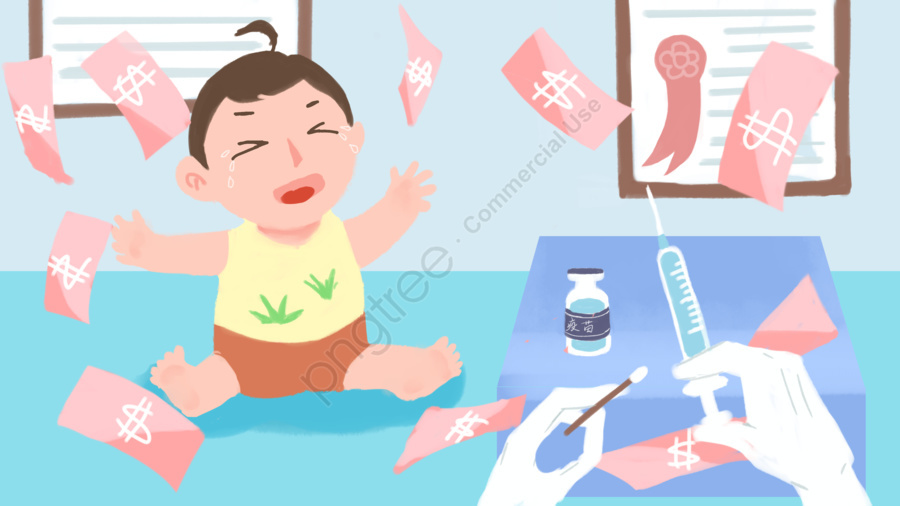 Vắc Xin Sinh Kế Xã Hội Sự Kiện Sức Khỏe Trẻ Em Vẽ Tay Minh Họa Gốc, Xã Hội, Đời Sống Xã Hội, Đứa Trẻ llustration image