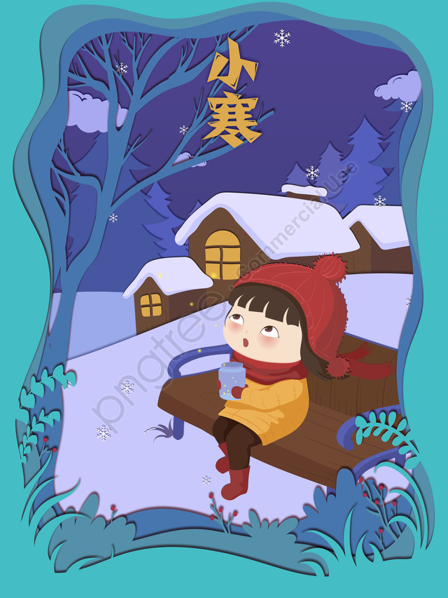 24 solar terms xiaohan paper-cut wind illustration firefly girl psd, Solar Terms, Poster, 24 Solar Terms llustration image