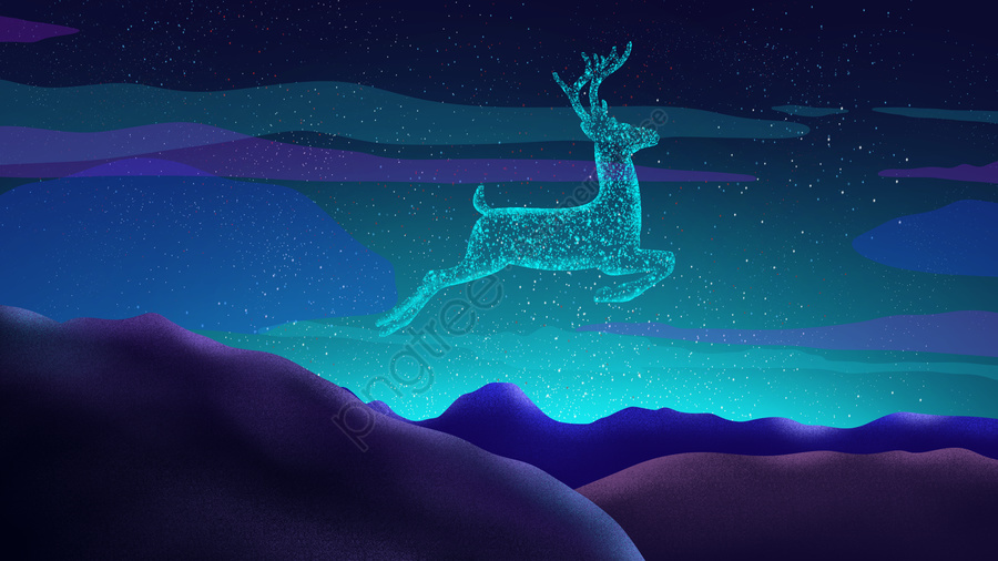 Deer Original Hand Painted Poster Illustration Wallpaper In The Sky, Starry Sky, Cure, Xinghai llustration image
