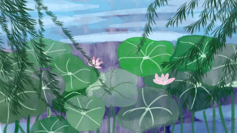 静物ハスの葉夏イラスト, イラスト, 柳の枝, 絵を描く llustration image