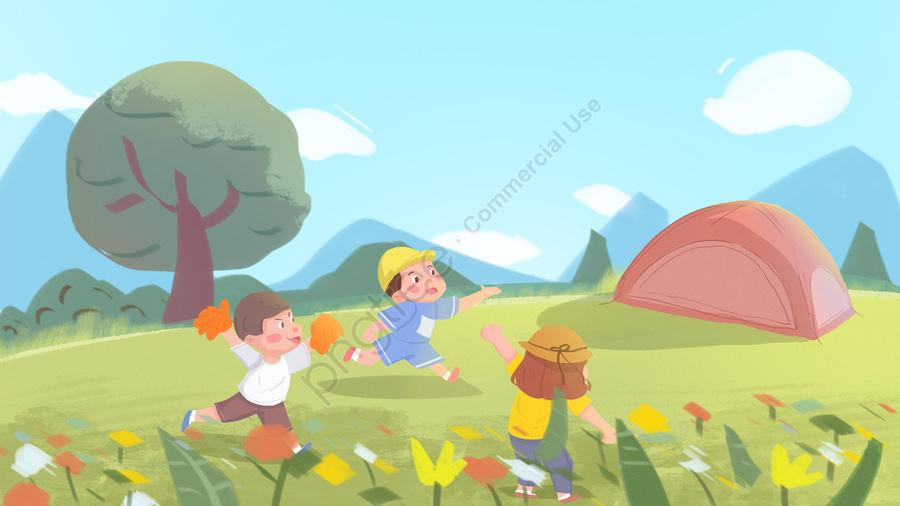 サマーキャンプの芝生の子供たちがキャンプやランニングのテントをセットアップ, サマーキャンプ, グラスランド, 子供たち llustration image