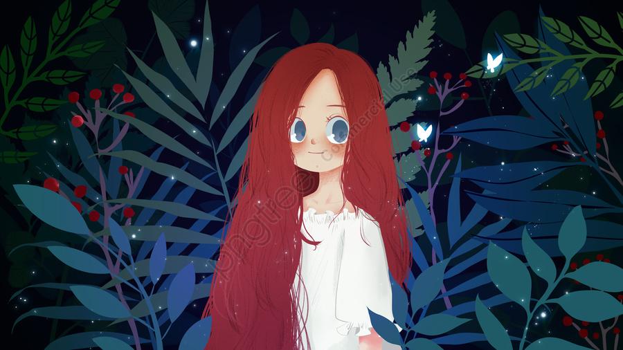 Summer night little girl plant, Summer, Little Girl, Night llustration image