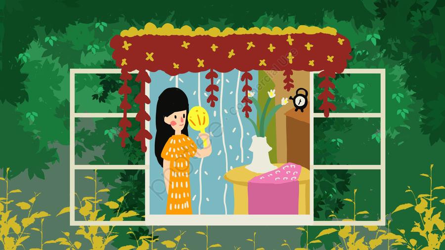 暑気あたりの女の子は窓の前で風を吹きます, 二十四節気, 暑気を払う, 夏 llustration image