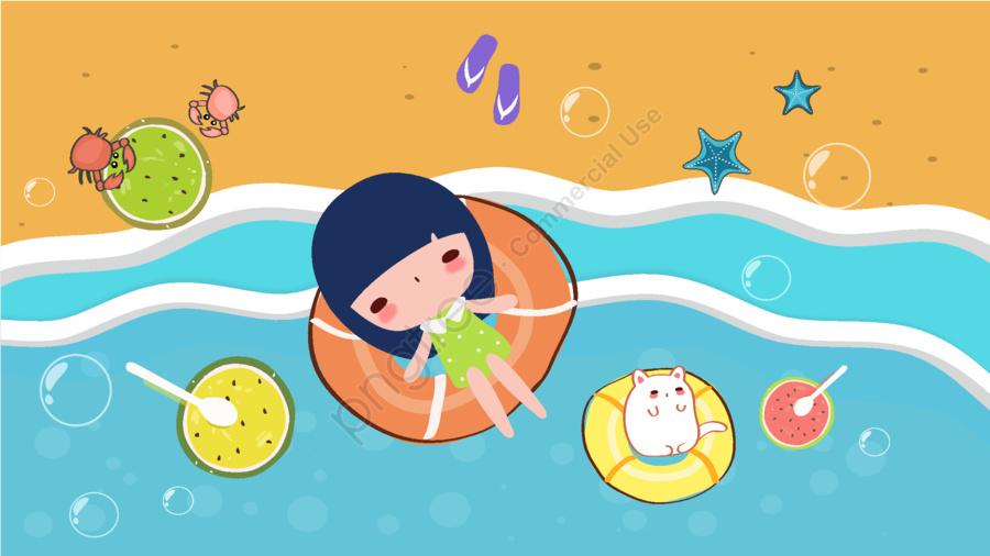 海濱夏日沙灘, 處暑, 夏天, 夏季 llustration image