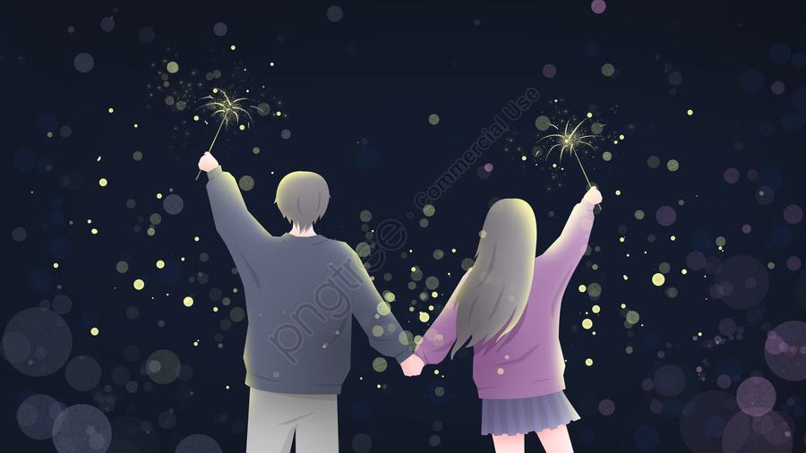 七夕夫婦夜ゴージャスな花火のイラストの壁紙, 七夕, カップル, 愛してる llustration image