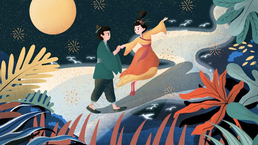 The cowherd and weaver girls tanabata meet roots original illustration, 七夕, バレンタインデー, 臆病者とウィーバー llustration image