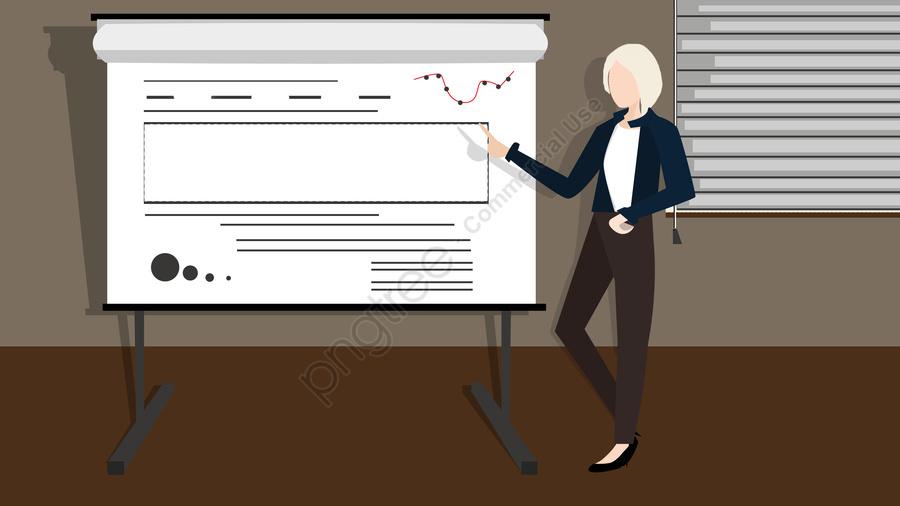 手描き執務講座の教育会議の女性ホワイトカラーの偏平風, Pp, 人, 会社 llustration image