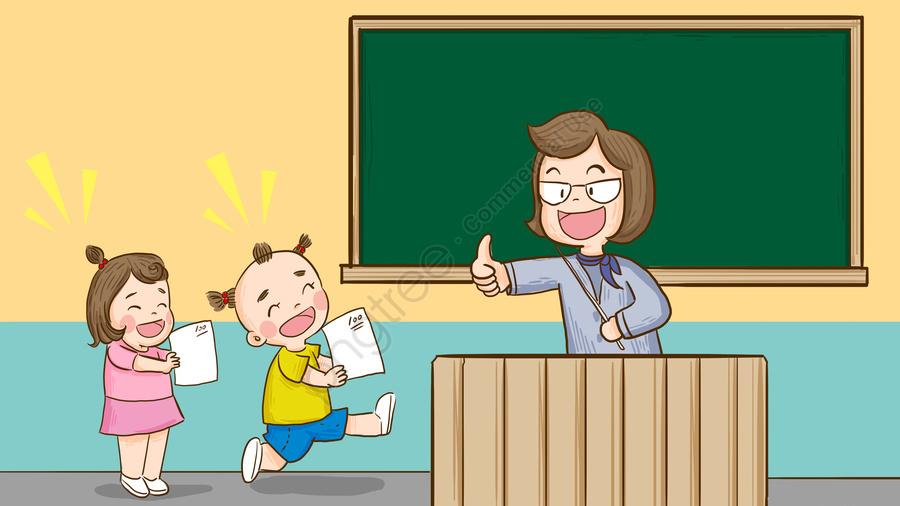 教師の日に子供たちが先生に最高のプレゼントをします, 100, 満点, 学生 llustration image