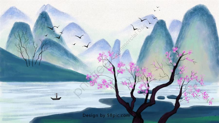 伝統的な中国絵画、水墨画、風景, トラディショナル, 中国絵画, 景観 llustration image