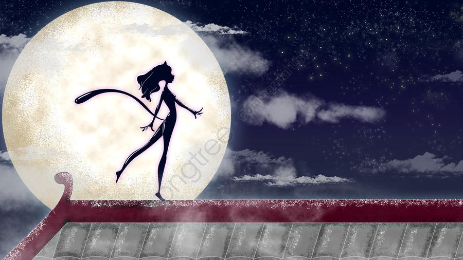 月光の下でのキャットウーマンの図, 月が空になると, 月光イラストレーター, 月光の下を歩くキャットウーマン llustration image