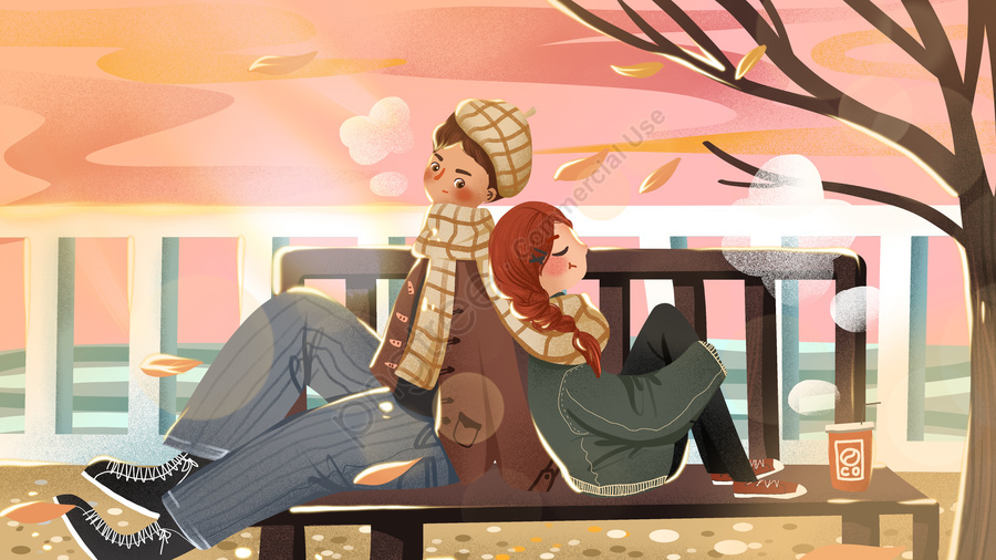 Winter couple everyday watching the sunset at beach warm and lovely illustration, Winter, Couple, Seaside llustration image