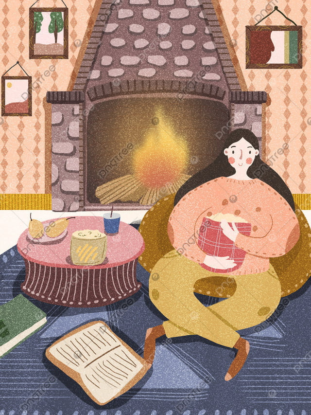 Happy Time Cartoon Illustration Of Winter Girl Home At, Winter, Fireplace, Flame llustration image
