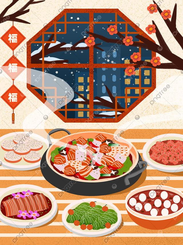 冬の食べ物、元旦、暖かいシーン, 冬の食べ物, お正月, 新しい年 llustration image