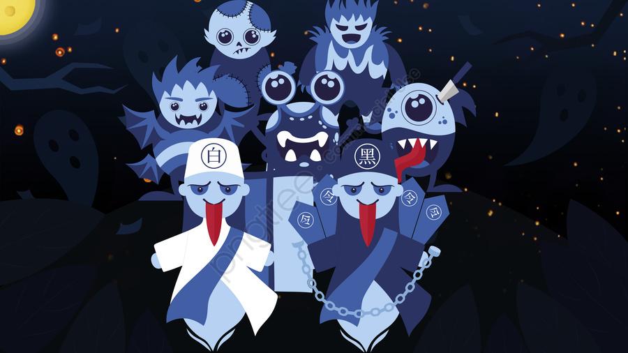 युआन फेस्टिवल के बीच में एक सौ भूतों ने नक्शे का मूल चित्रण किया, झोंगयुआन महोत्सव, झोंगयुआन भूत महोत्सव, भूत का त्योहार llustration image