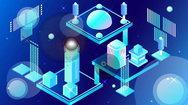 2.5d micro stereo technology future geometric city vector illustration, 2.5d, 2.5d, 25d illustration image