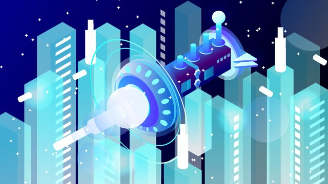 2.5d micro stereo technology future spaceship vector illustration, 2.5d, 2.5d, 25d illustration image
