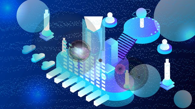 2.5d micro stereo dynamic city technology future vector illustration, 2.5d, 2.5d, 25d illustration image