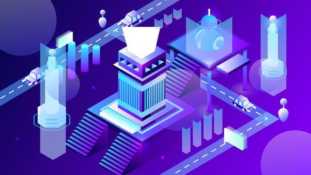 2.5d artificial intelligence technology intelligent transportation system vector illustration, 2.5d, 2.5d, 25d illustration image