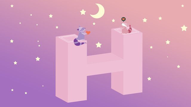2 5d illustration romantic starry sky to send love gradient llustration image