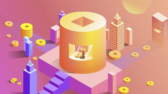 2 5d gold coin building financial city Ресурсы иллюстрации Иллюстрация изображения