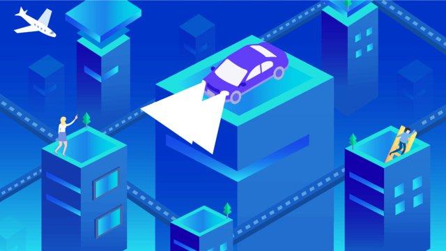 2.5d micro-stereo illustration technology future transportation city, 2.5d, Microscopic, Office illustration image