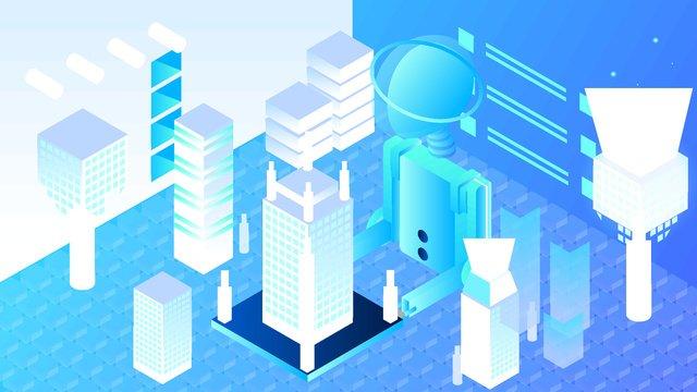 2.5d artificial intelligence virtual palm city vector illustration, 2.5d, Microscopic, Semi-stereo illustration image