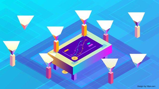 2.5d vector bitcoin technology internet finance, 2.5d, Vector, Financial illustration image