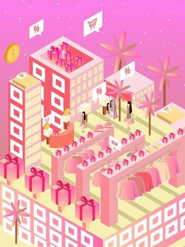 2 5d lễ hội mùa xuân mall cuối năm giải phóng mặt bằng vector minh họa Hình minh họa