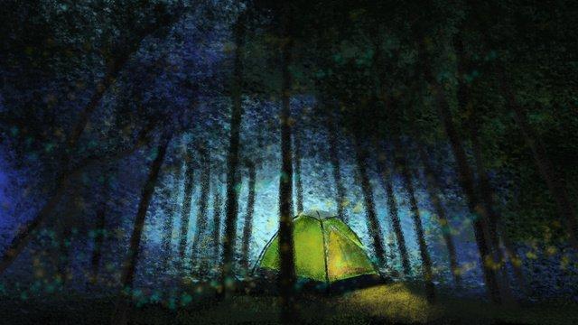 हाथ से चित्रित जंगल   शिविर गहरे पहाड़ जंगली चित्रण छवि चित्रण छवि